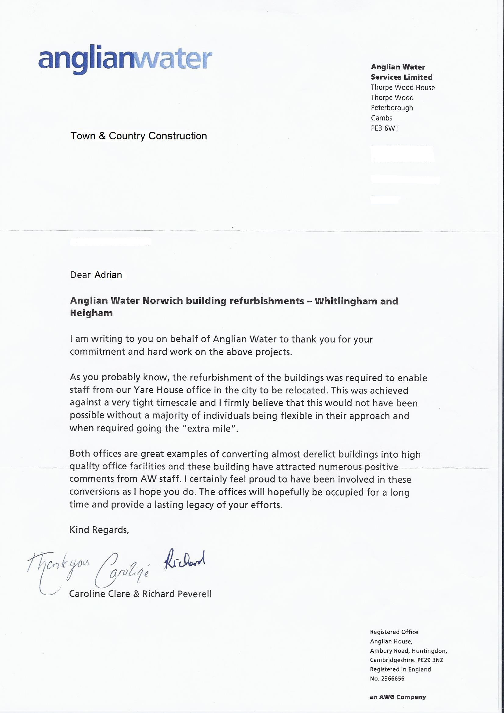 Anglian Water Roofing Review Letter