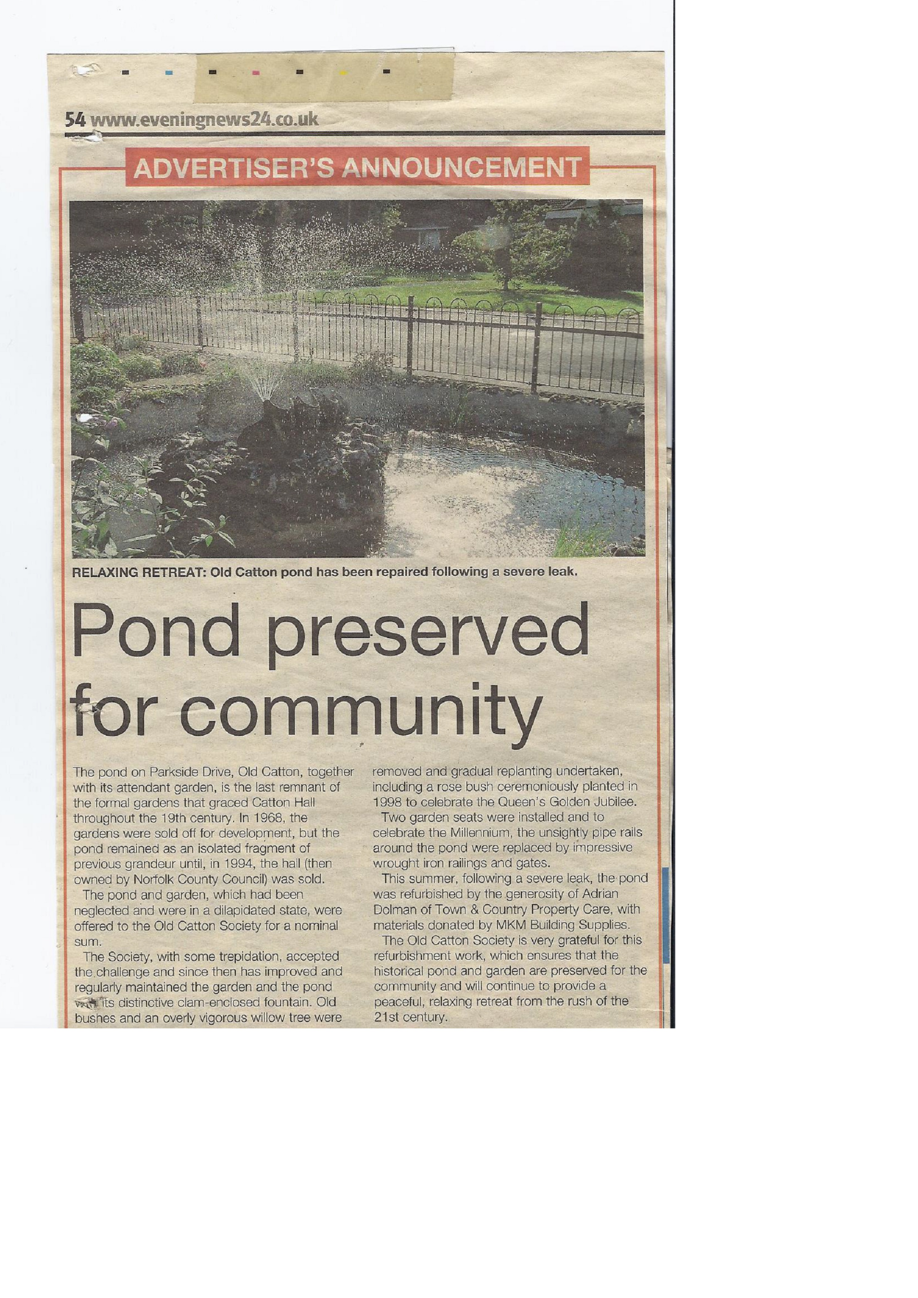 Old Catton Pond Letter